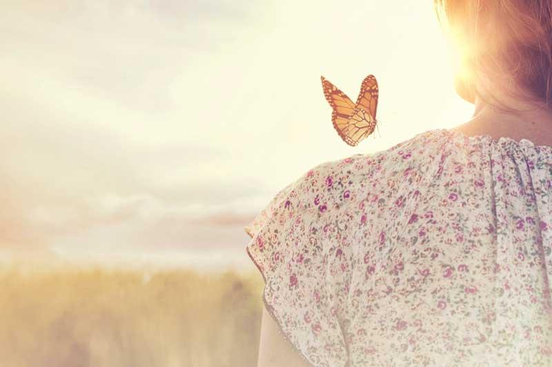 papillon qui se pose sur l'épaule d'une femme de dos avec rayons de soleil