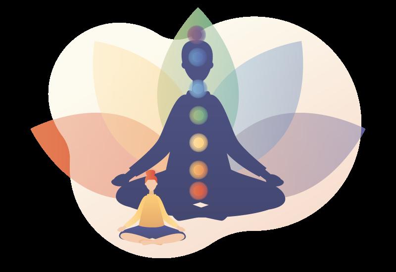 kinésiologie des chakras illustration vectorielle d'une personne méditante avec les 7 chakras sur fond de lotus