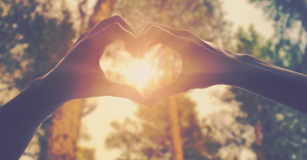 mains qui se tiennent et forment un coeur par lequel passe un rayon de soleil